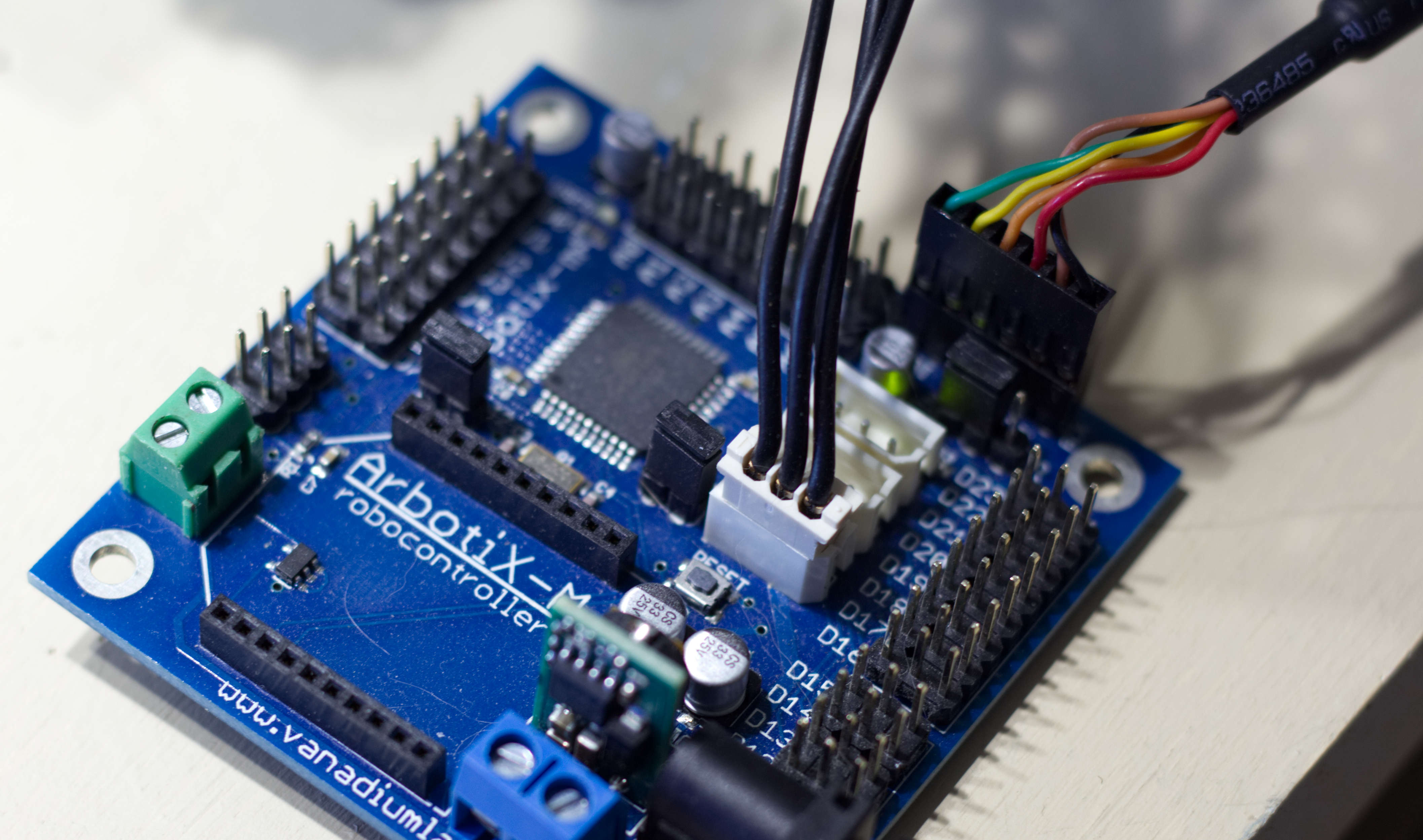 Close up of the Arbotix-M robocontroller.