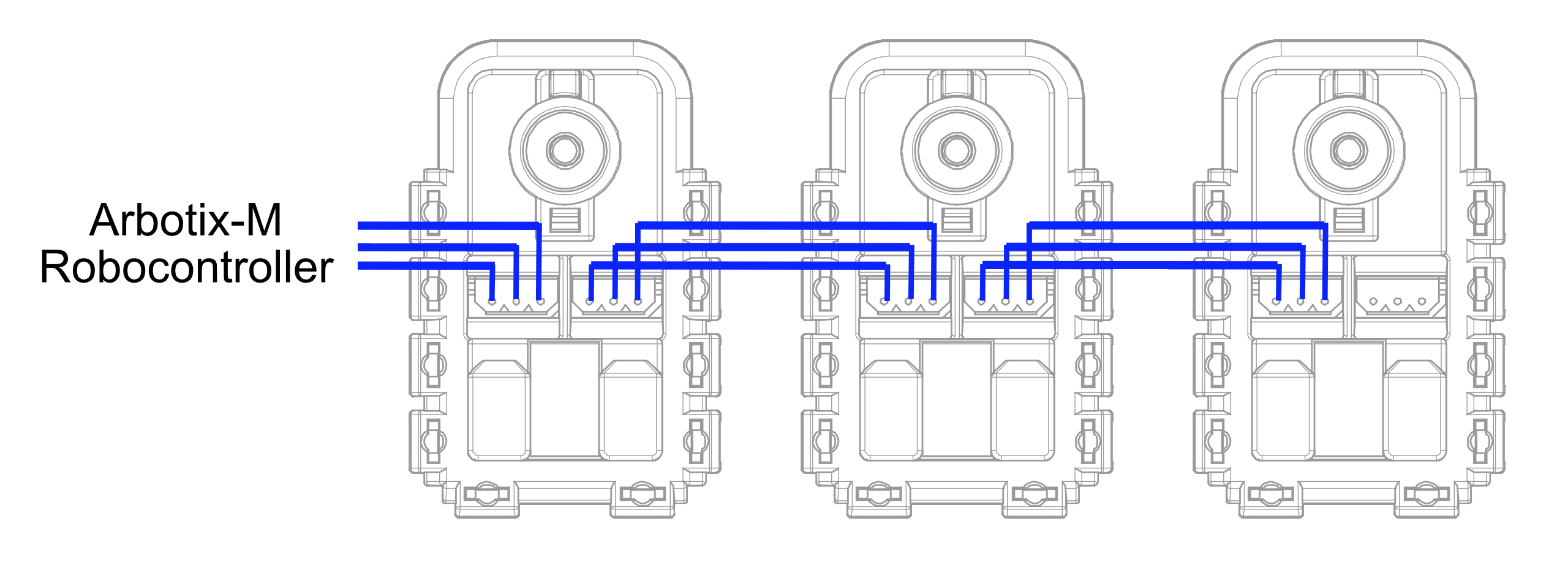 Diagram of chain of Dynamixel servos