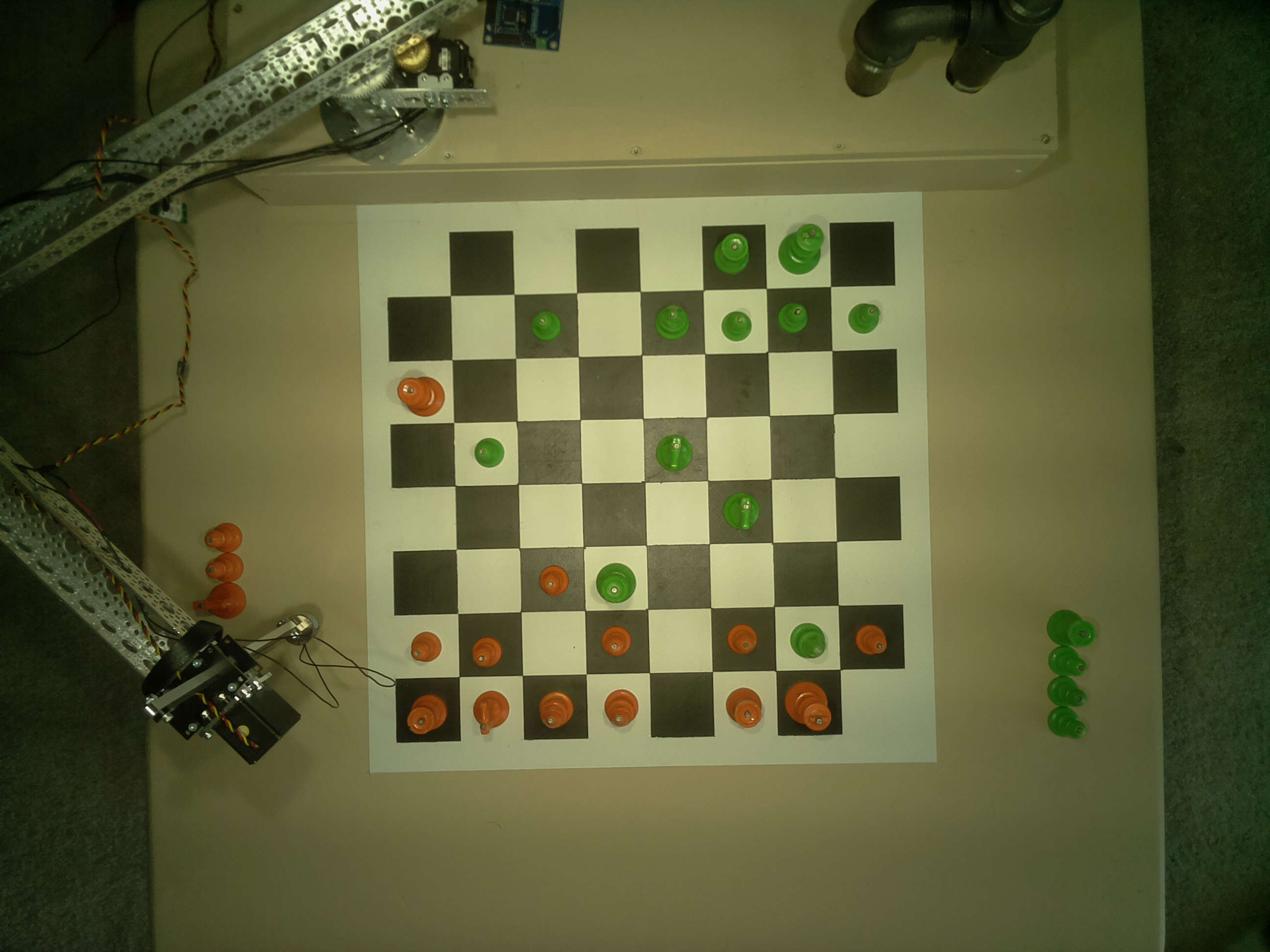 A raw image of the chessboard on table, captured from the camera.