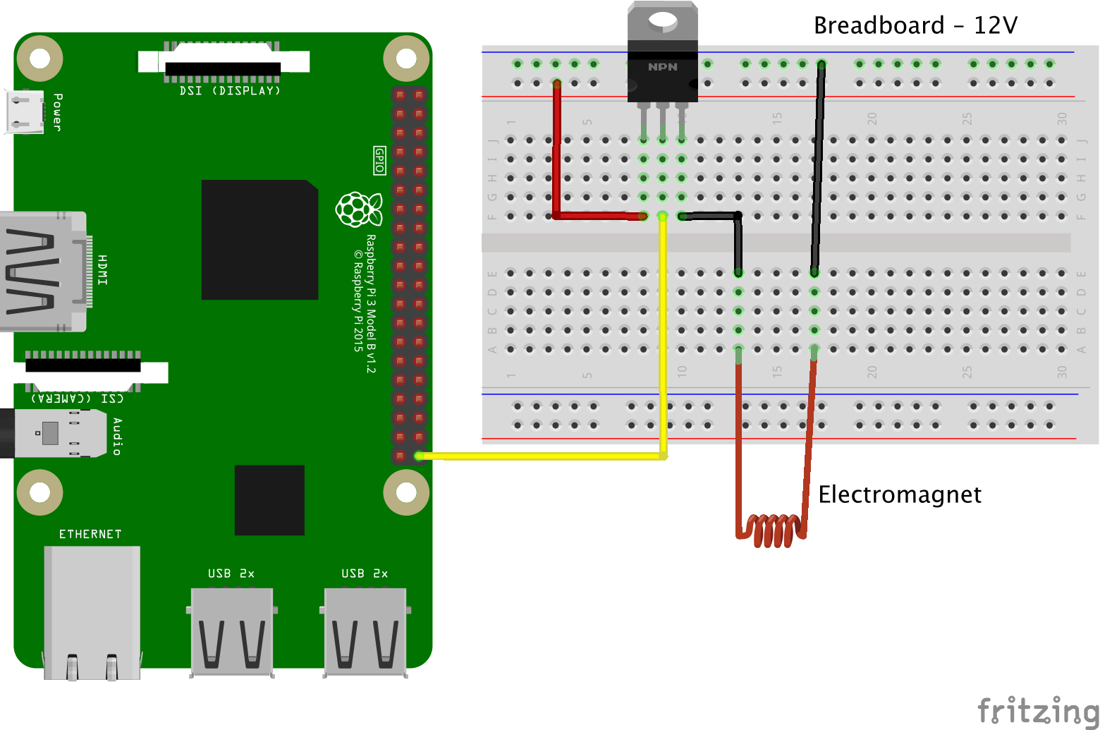 Circuit diagram of the electromagnet connected to the Raspberry Pi.
