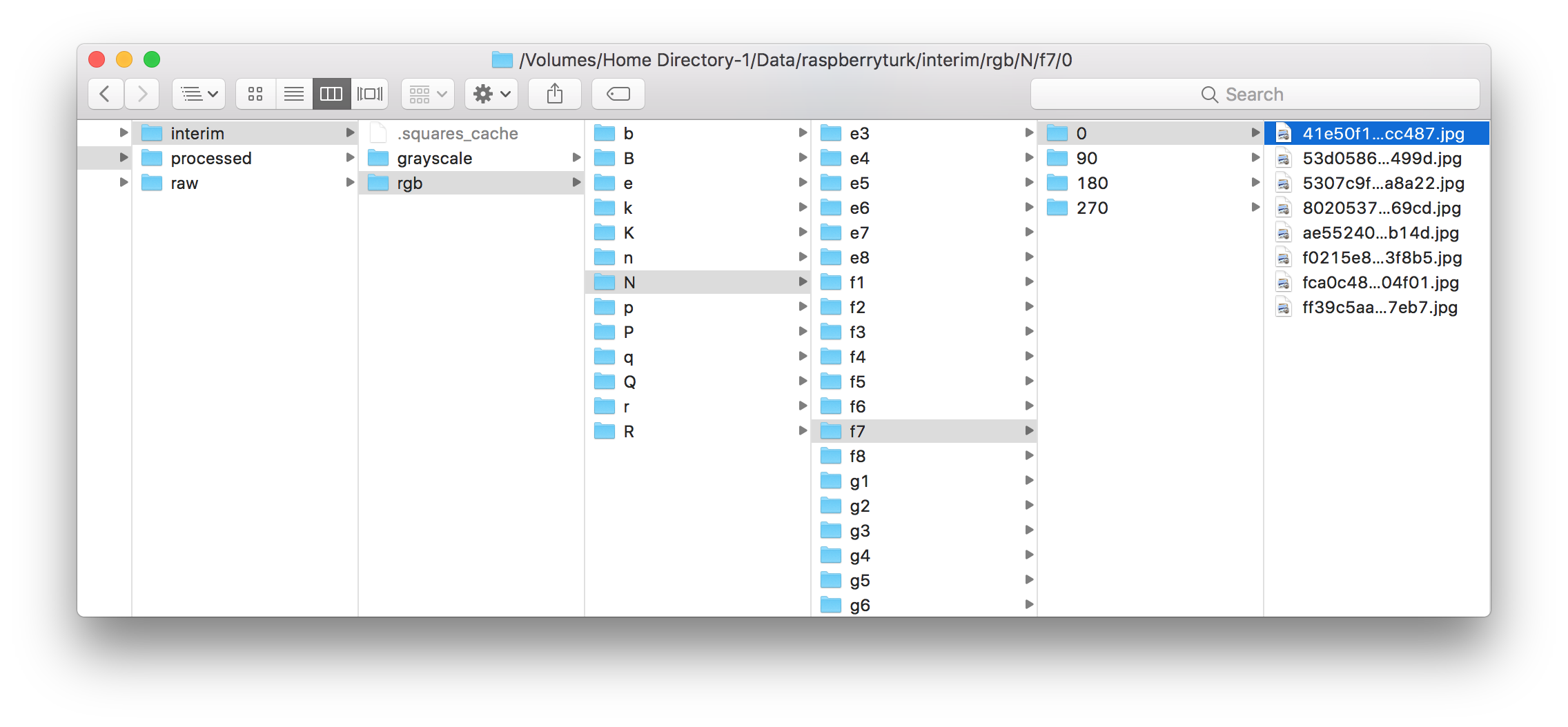 Finder window showing interim data contents in filesystem.