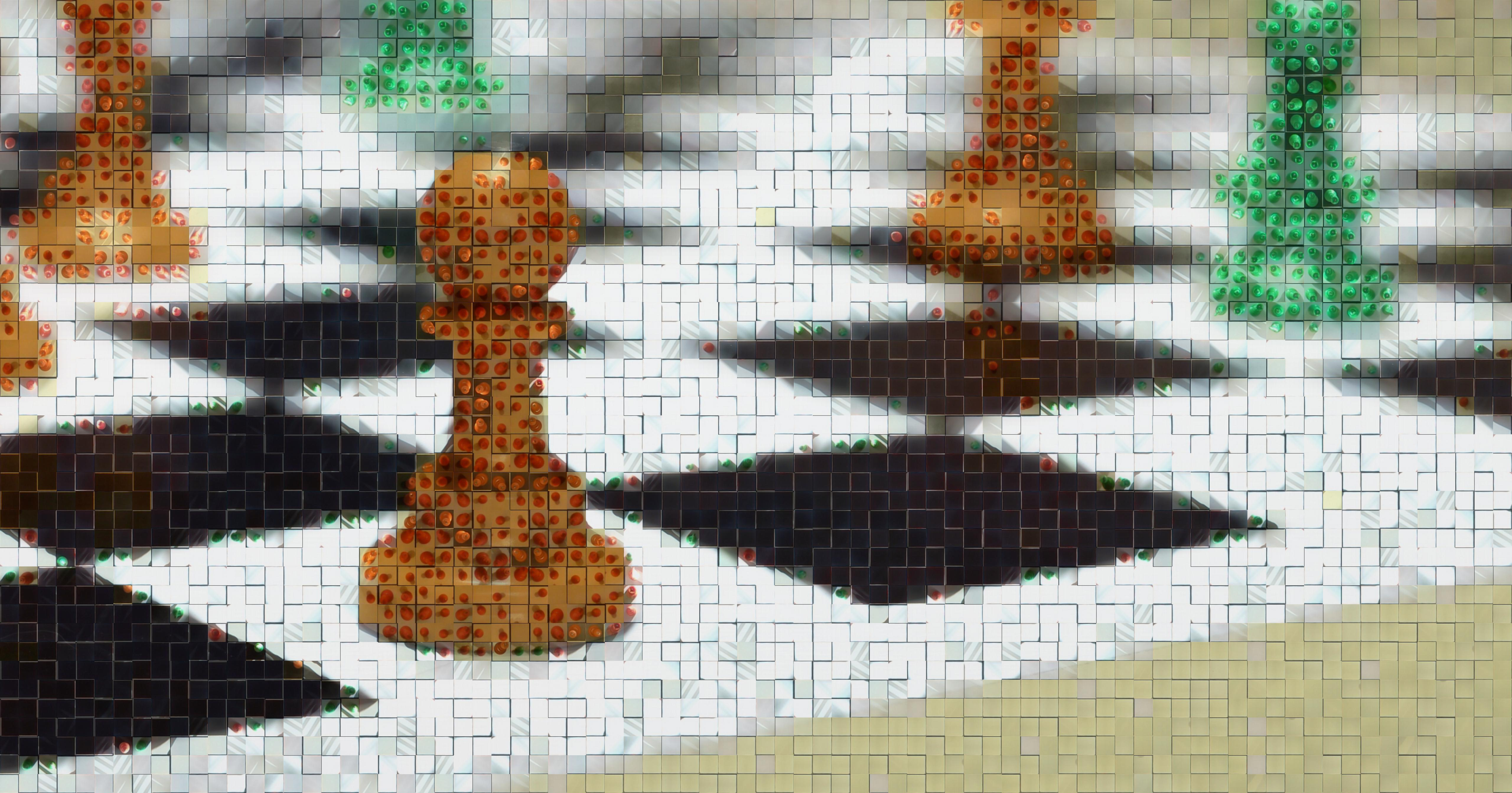 Abstract mosiac of chess pieces made out of images from the dataset.