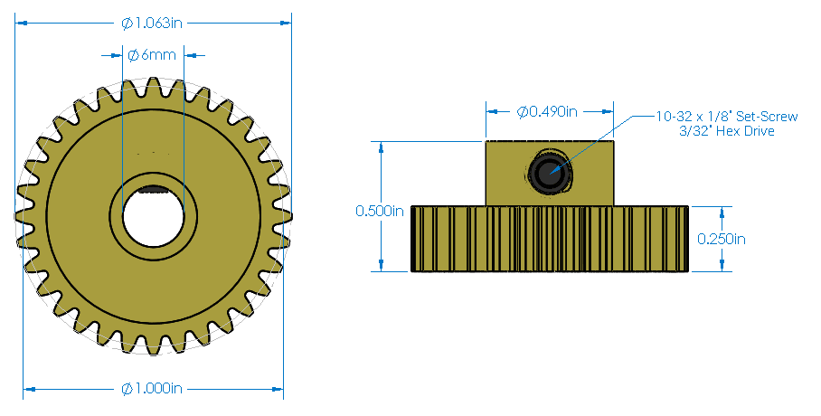 Diagram of Actobotics pinion gear.