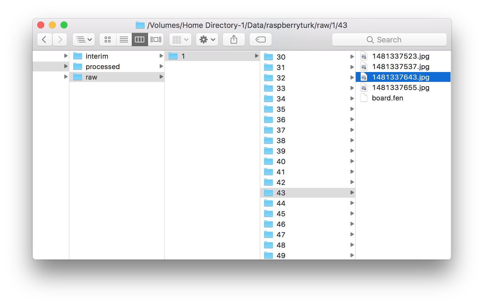 Finder window showing raw data contents in filesystem.